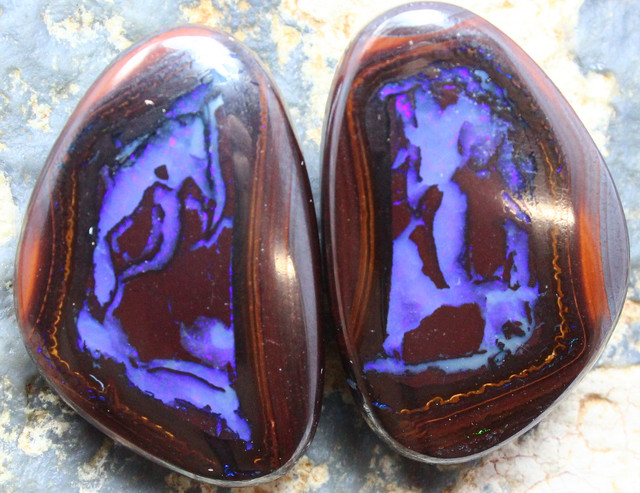 73.40 CTS MATCHING BOULDER OPAL PAIR OF STONES A9836