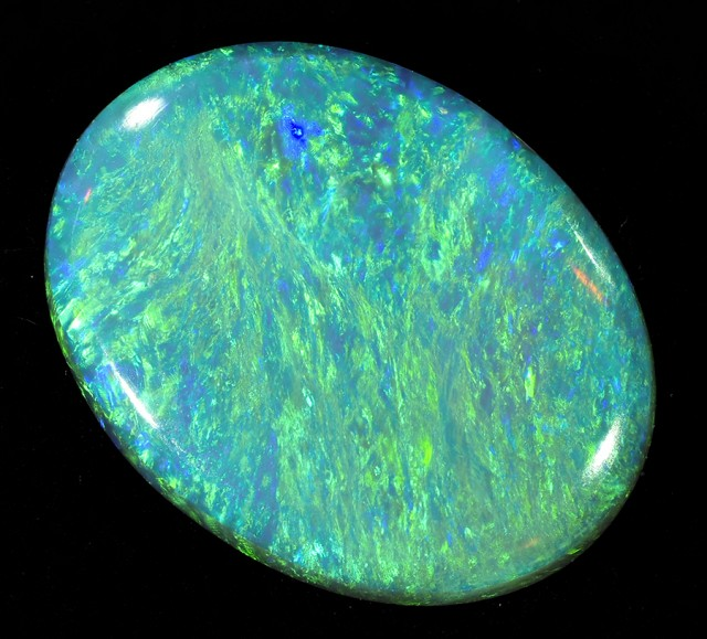 1.90 CTS FIREY GREEN BLACK OPAL DOUBLE SIDED FIRE STONE L 2970
