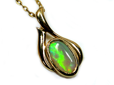 FANTASTIC GREEN BLAZE BLACK CRYSTAL 18K GOLD PENDANT SCO878