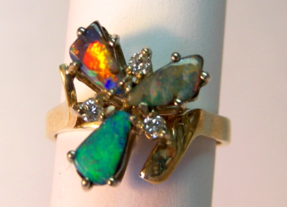 18ct HANDMADE RING with SOLID OPALS & DIAMONDS   p10-084cr