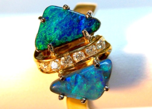 18ct HANDMADE RING with SOLID OPALS & DIAMONDS   p10-074cr