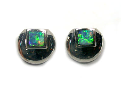OPAL INLAY 18K WHITE GOLD EARRING SCO955