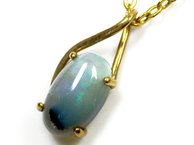 BEAUTIFUL SKY BLUE FLASH BLACK OPAL 18K GOLD PENDANT SCO1097