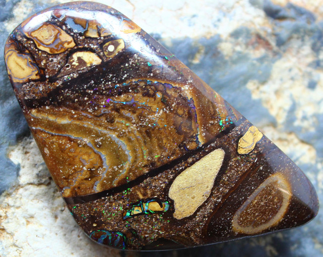 """46.35 CTS YOWAH OPAL """" CONGLOMERATE """" TOP POLISHED STONE C337"""