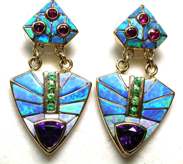 74 CTS 18 K OPAL INLAYED EARRINGS -DAVID FREELAND JNR[SAFE]