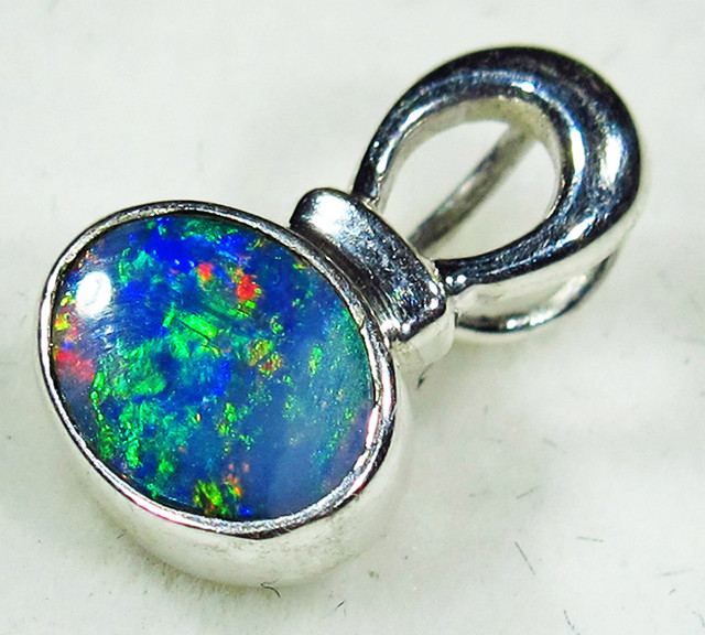 5 CTS OPAL DOUBLET PENDANT-DIRECT FACTORY-SILVER [SOJ2750]