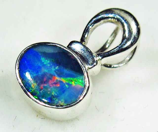 5 CTS OPAL DOUBLET PENDANT-DIRECT FACTORY-SILVER [SOJ2751]
