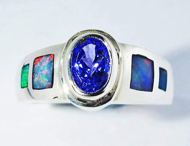 7 RING SIZE OPAL AND TANZANITE SILVER FACTORY MADE SOJ2786