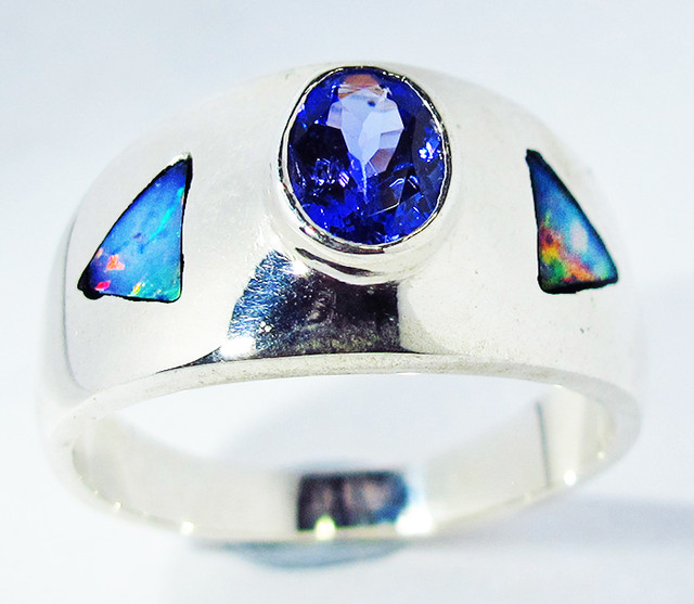 8 RING SIZE OPAL AND TANZANITE SILVER  [SOJ2790]