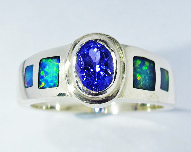 8 RING SIZE OPAL AND TANZANITE SILVER SOJ2791