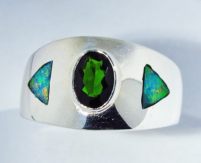 9 RING SIZE OPAL AND CHROME DIOPSIDE [SOJ2774]