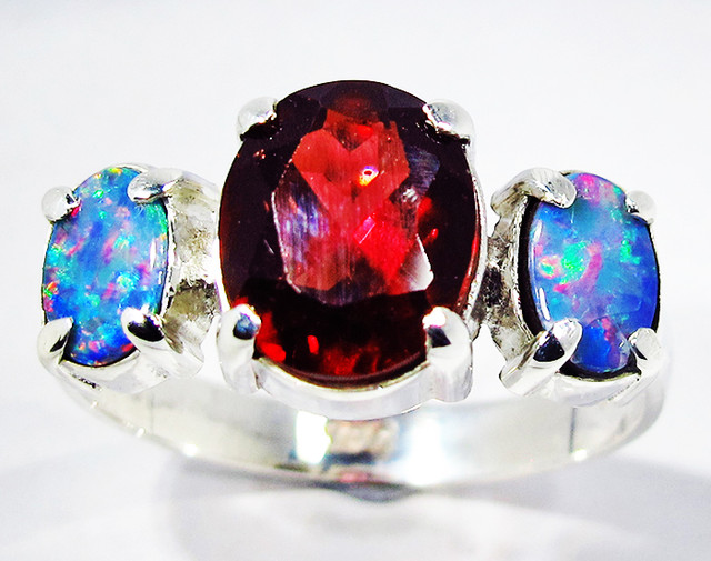 10.5 RING SIZE RED GARNET DOUBLET RING [SOJ2802]