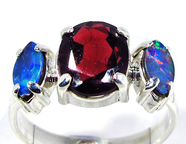 10 RING SIZE RED GARNET DOUBLET RING [SOJ2804]