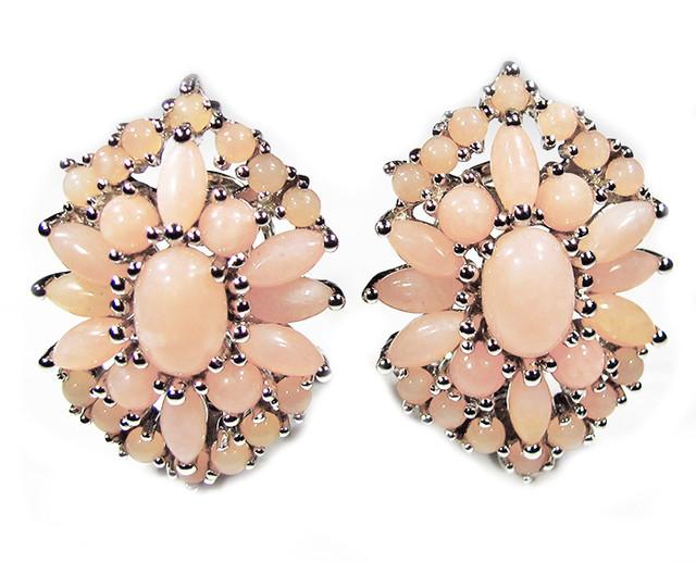 PERU PINK OPAL EARRINGS -SILVER [SOJ2849]