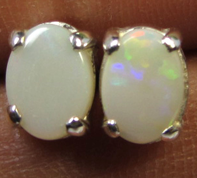 7  X5 M CUTE SOLID  OPAL  STERLING SILVER  EARRINGS CF 317