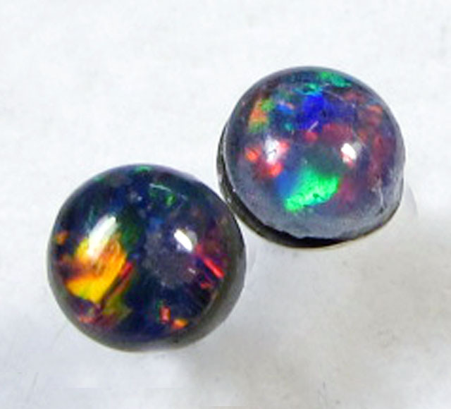 3X3 MM  TRIPLET  OPAL  STERLING SILVER  EARRINGS CF 352