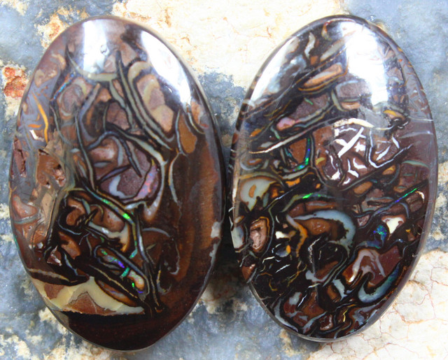 43.50 CTS MATCHING YOWAH OPAL PAIR NATURAL APPEALING STONES C1110