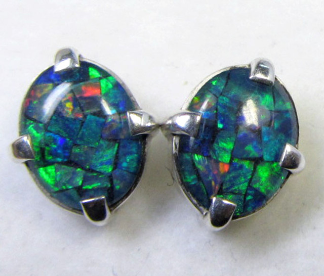 12x10 MM MOSAIC TRIPLET OPAL STERLING SILVER EARRINGS CF 480