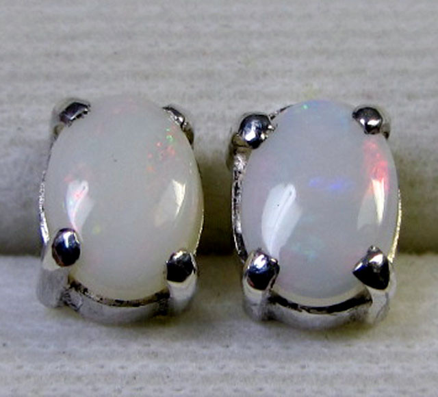 7x5 MM SOLID OPAL STERLING SILVER EARRINGS CF 565