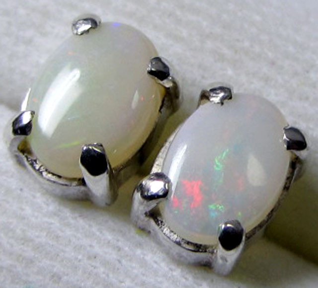 7x5 MM SOLID OPAL STERLING SILVER EARRINGS CF 573