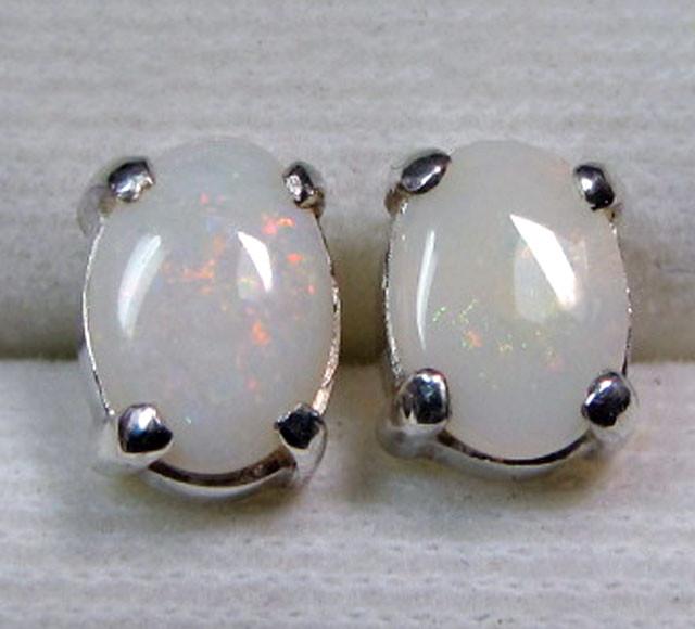 7x5 MM SOLID OPAL STERLING SILVER EARRINGS CF 575