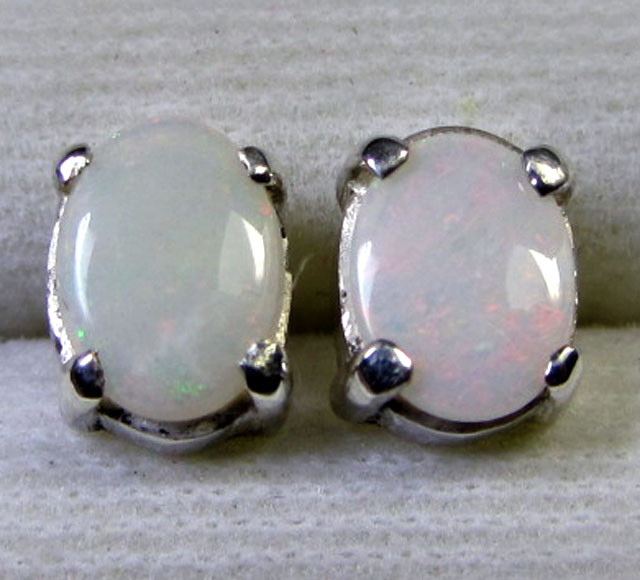 7x5 MM SOLID OPAL STERLING SILVER EARRINGS CF 577