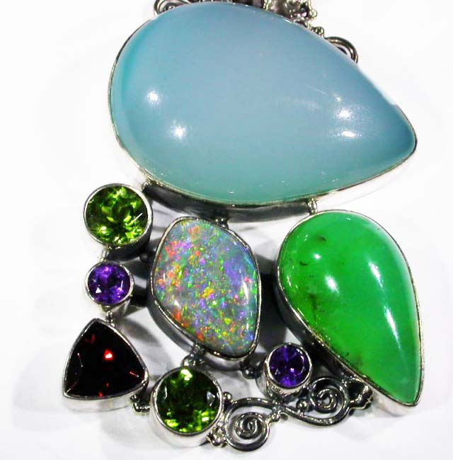 OPAL [STABILIZED} + ASSORTED GEM STONES PENDANT [SOJJ2 ]