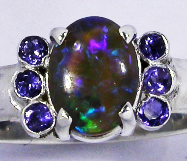 7 RING SIZE OPAL + TANZANITE RING SILVER -FACTORY [SOJ2956]