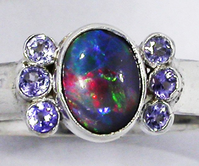 8.5 RING SIZE OPAL + TANZANITE RING SILVER-FACTORY [SOJ2966]SH