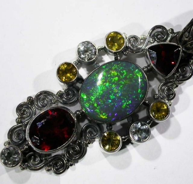 OPAL [STABILIZED} + ASSORTED GEM STONES PENDANT [SOJJ9]
