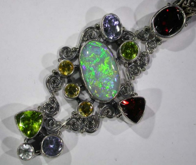 OPAL [STABILIZED} + ASSORTED GEM STONES PENDANT [SOJJ10 ]