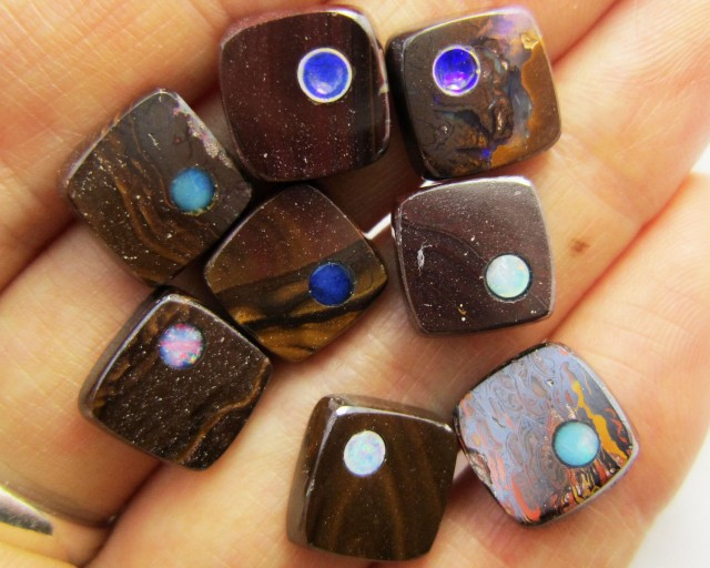 38CTS PARCEL BOULDER  IRONSTONE OPAL WITH INLAY    MMM 765