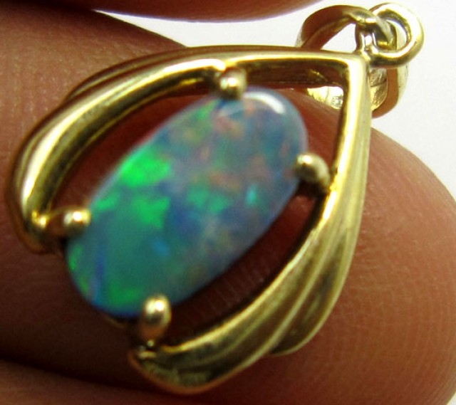 GOLD PLATED SILVER OPAL DOUBLET   PL 710