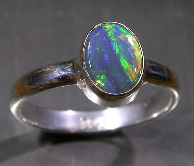 7 RING SIZE SOLID CRYSTAL OPAL -FACTORY DIRECT [SOJ3047]
