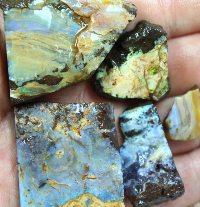2.70 OZ 5 PCS BOULDER ROUGH-BLOCKED OUT OPAL MINIMAL WASTAGE