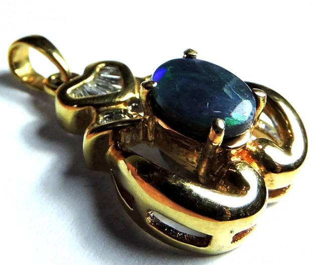 EXQUISITE DEEP BLUE FLASH BLACK 18K GOLD PENDANT SCO1250