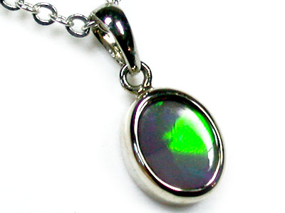 STUNNING RICH GREEN BLACKOPAL 18K WHITE GOLD PENDANT SCO1265