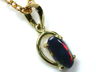 FASCINATING RED GREEN FIRE BLACK OPAL 18K PENDANT SCO1376