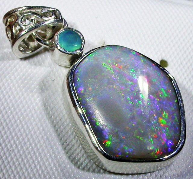SOLID FOSSIL OPAL SILVER PENDANT-FACTORY DIRECT [SOJ3081]5