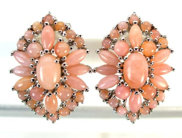 PERU PINK OPAL EARRING CLUSTER-SILVER  37.80  CTS  0F- 190