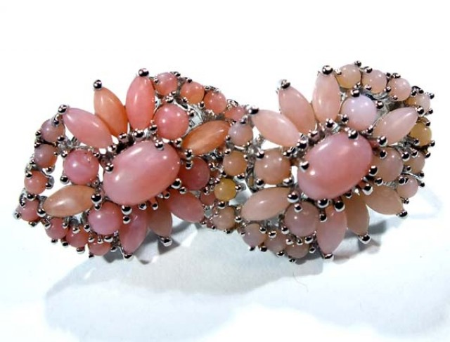 PERU PINK OPAL EARRING CLUSTER-SILVER   37.45 CTS  0F-197