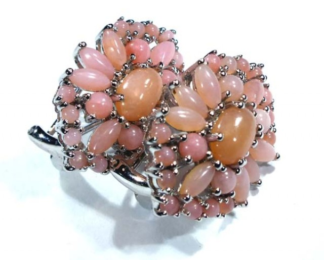 PERU PINK OPAL EARRING CLUSTER-SILVER  38.25  CTS  0F-196