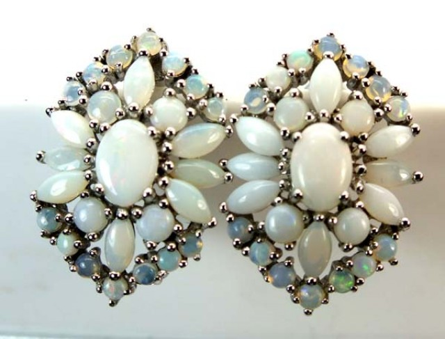 WHTE OPAL EARRING CLUSTER-SILVER 35.35  CTS   OF-249