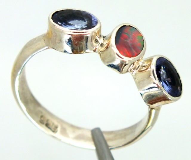 SOLID BLACKOPAL TANZANITE SILVER RING SIZE6.5- 14 CTS OF-212
