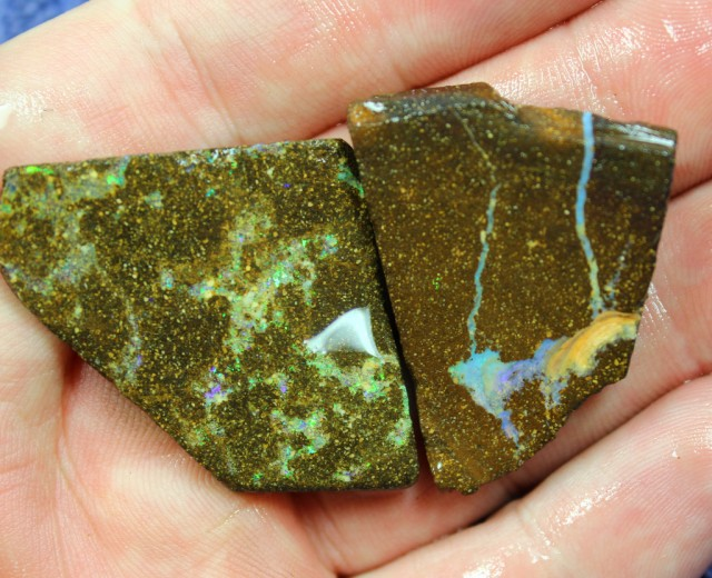 0.80 OUNCES 2 PIECES BOULDER OPAL SLAB ROUGH FROM THE SAW