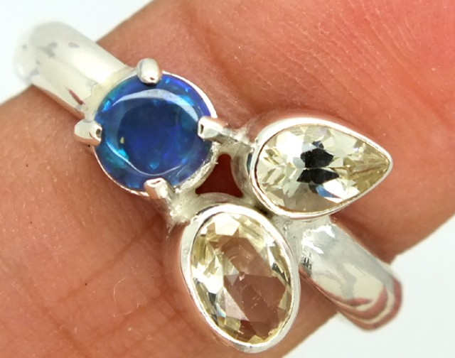 15.35  CTS BLACK OPAL SUNSTONE RING  SIZE-8  OF-270