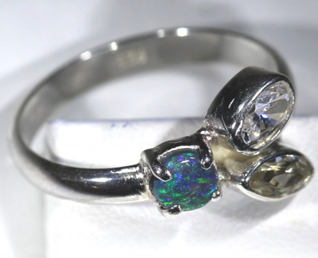 15.60   CTS RING BLACK OPAL SUNSTONE  SIZE-9.25  OF-264
