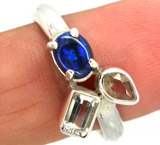 14.95 CTS BLACK OPAL SUNSTONE RING   SIZE-8.50  OF-273