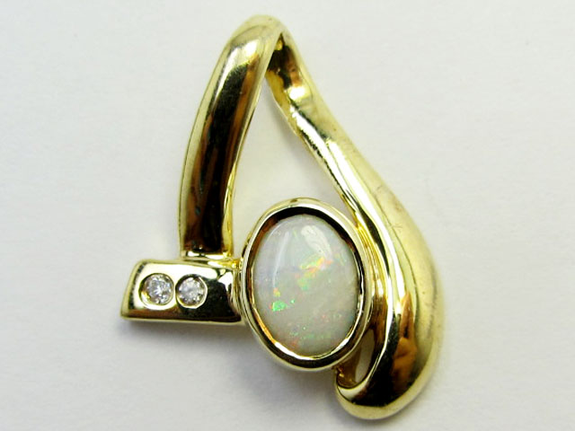 SOLID OPAL SILVER G/P  PENDANT WITH CZ PL743