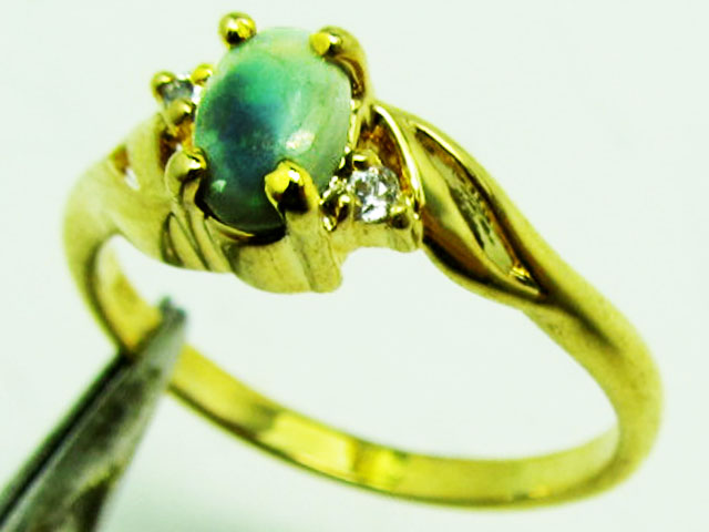 fire Opal set in Gold plated Silver ring size 5.5 PL 775